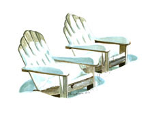 Adirondack Chairs Watercolor Painting