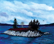 Joe Island Watercolor Painting