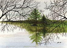 Maine Bay Watercolor Painting