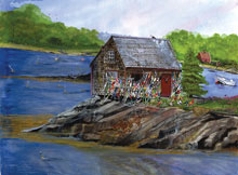 Maine Bouy Shack Watercolor Painting