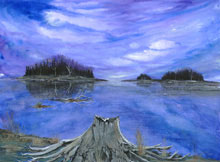 Maine Twilight Watercolor Painting