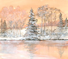 Maine Woods in Winter Watercolor Painting