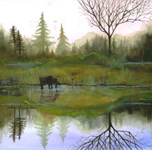 Moose Refleciton Watercolor Painting