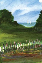 Off The Maine Islands Watercolor Painting