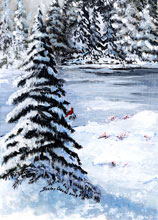 Winter in Maine Watercolor Painting